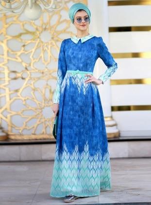 Yakma Tül Elbise - Mavi