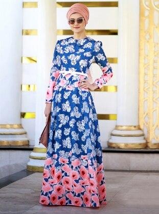 Nilüfer Kamacıoğlu Yakma Tül Elbise - Mavi Fuşya