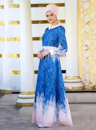 Yakma Tül Elbise - Pudra Mavi