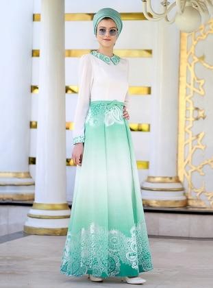 Nilüfer Kamacıoğlu Yakma Tül Elbise - Yeşil