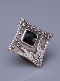 Vizon Kristal Gümüş Kaplama Mıknatıslı Broş - Gümüş - Fsg Takı