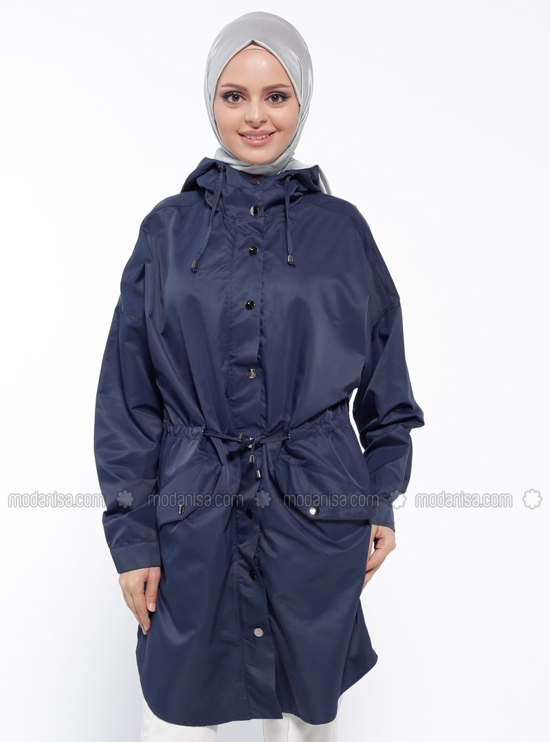 Navy Blue - Unlined - Polo neck - Trench Coat