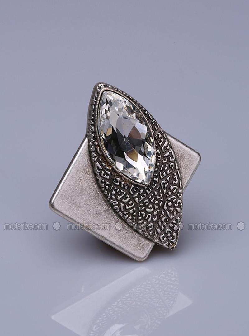 Ecru - Silver tone - Scarf Accessory