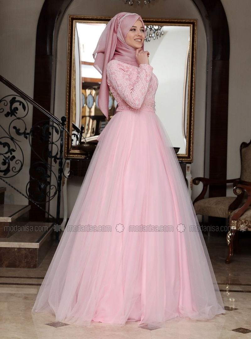 Pink - Fully Lined - Crew neck - Muslim Evening Dress - Al-Marah