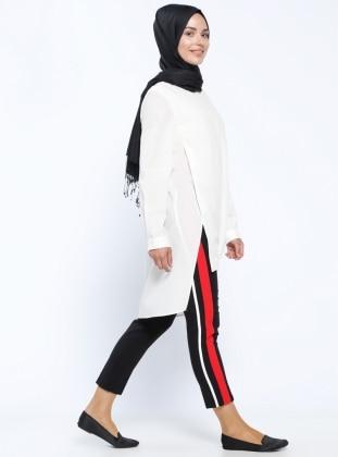 Garnili Pantolon - Siyah Kırmızı