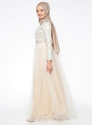Jakarlı Abiye Elbise - Krem Mileny