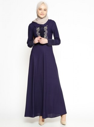 Purple - Round Collar - Half Lined - Dress - Bonema 306542