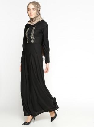 Half Lined - Round Collar - Black - Dress
