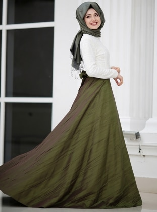 Khaki - Fully Lined - Round Collar - Muslim Evening Dress