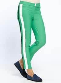 Green - Ecru - Pants