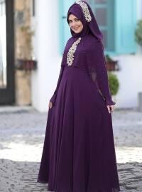 Nur Abiye Elbise - Mürdüm - SomFashion