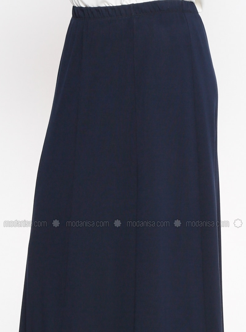 navy blue unlined plus size skirt nakşin by nakşin