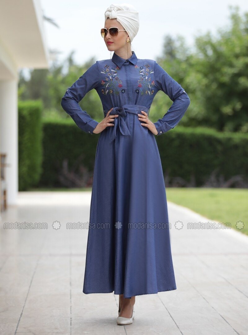 Navy Blue - Point Collar - Unlined - Dress - Selma Sarı Design