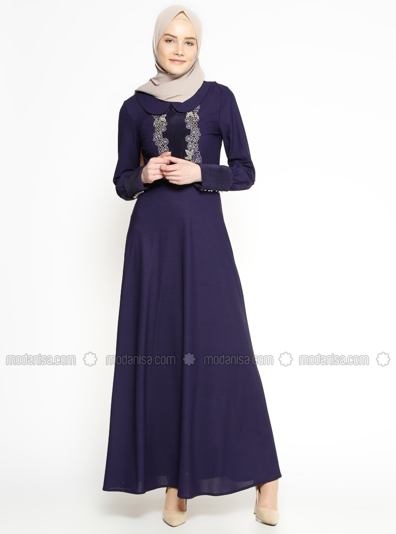 Purple - Round Collar - Half Lined - Dress