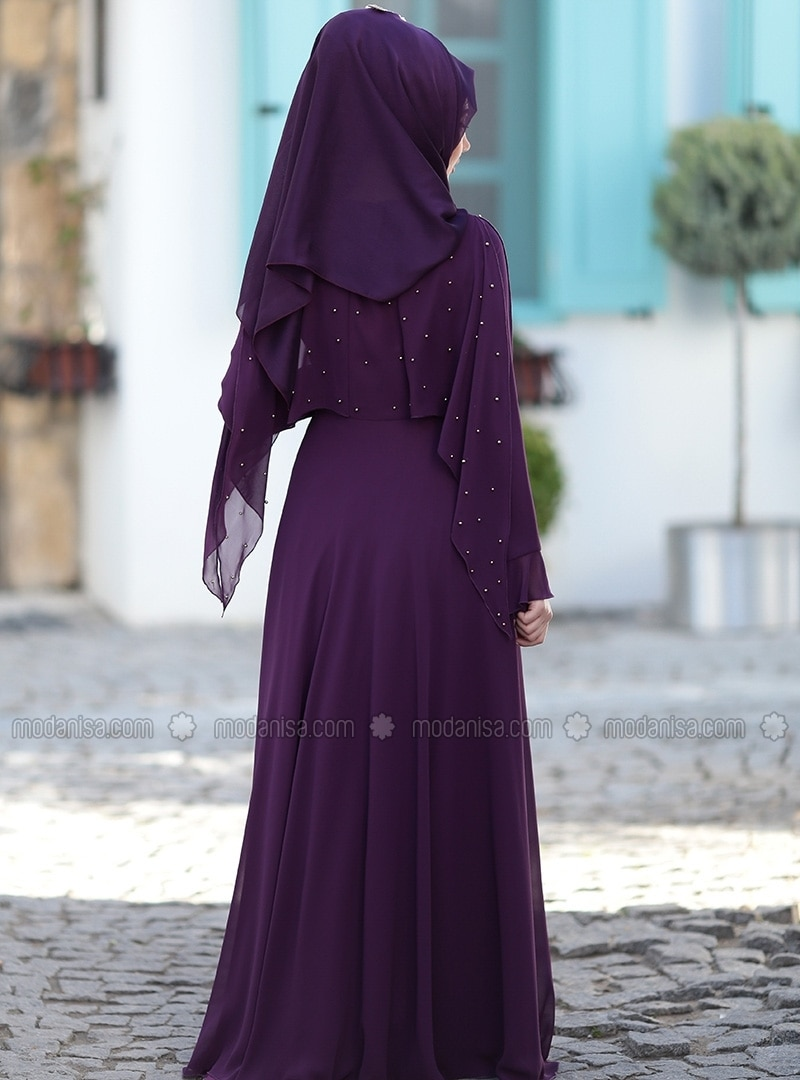 Purple - Fully Lined - Crew Neck - Muslim Evening Dress-5552