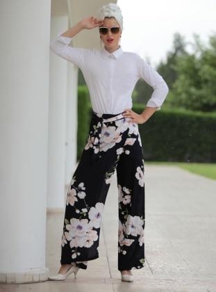 Selma Sarı Design Çiçekli Etek Pantolon - Ekru