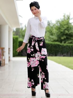 Selma Sarı Design Çiçekli Etek Pantolon - Fuşya