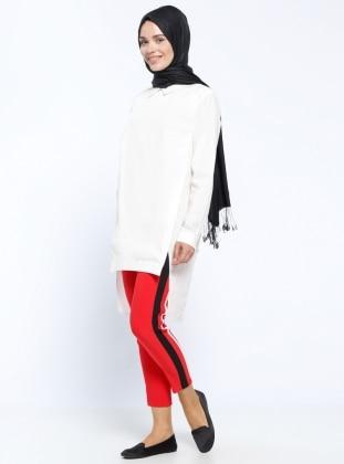 Appleline Garnili Pantolon - Kırmızı Siyah