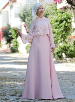 Gülendam Elbise - Pudra