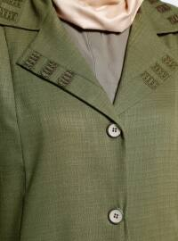 Khaki - Unlined - Shawl Collar - Plus Size Coat