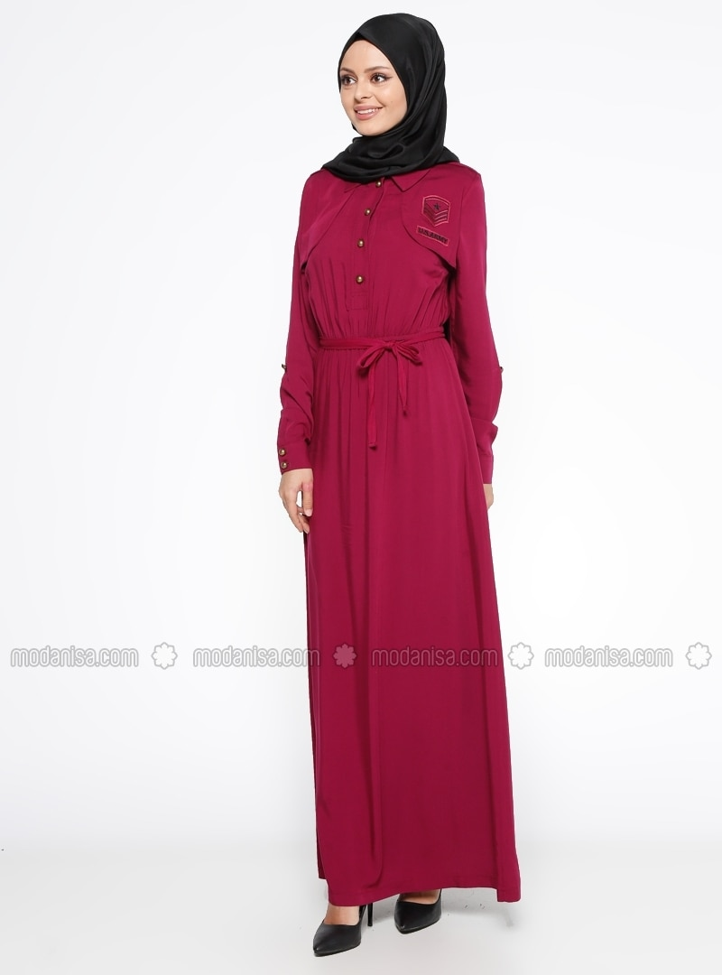 Pink - Point Collar - Unlined - Dress
