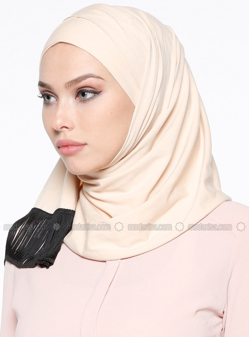 Beige - Plain - Cotton - Combed Cotton - Instant Scarf