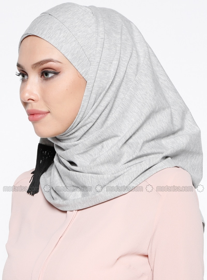 Gray - Plain - Cotton - Combed Cotton - Instant Scarf