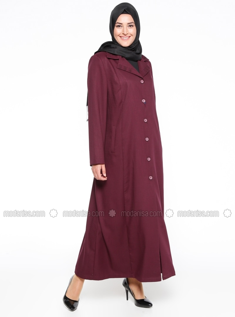 Maroon - Unlined - Shawl Collar - Plus Size Coat