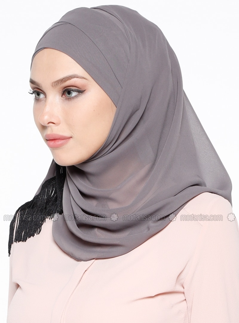 Combed Cotton - Cotton - Plain - Gray - Instant Scarf