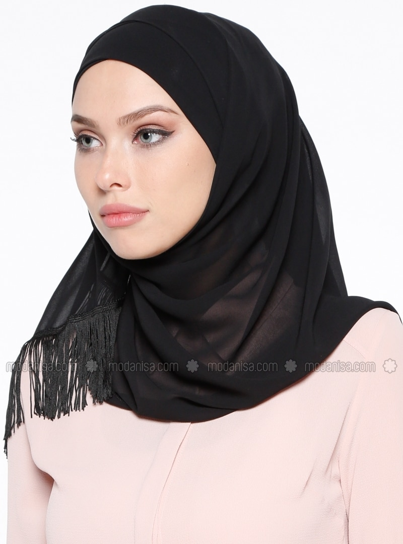 Black - Plain - Cotton - Combed Cotton - Instant Scarf