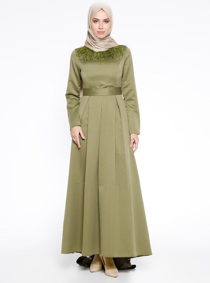 3c215bd33cc84 LOREEN Haki Otriş Detaylı Abiye Elbise | ElbiseBul