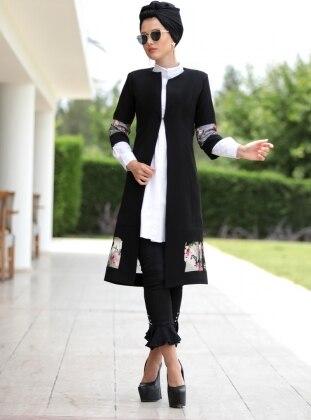 Nakışlı Ceket - Siyah Selma Sarı Design