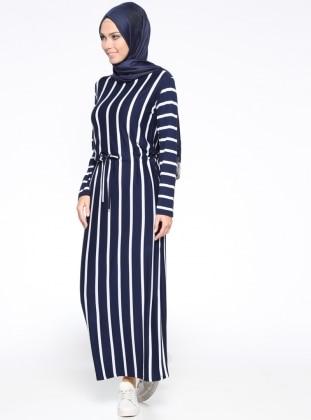 Çizgili Elbise - Lacivert