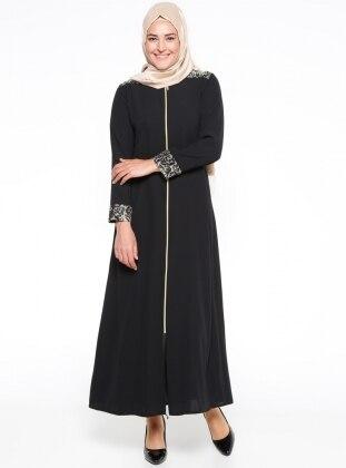 Black - Crew neck - Unlined - Plus Size Abaya - ModaNaz 307412