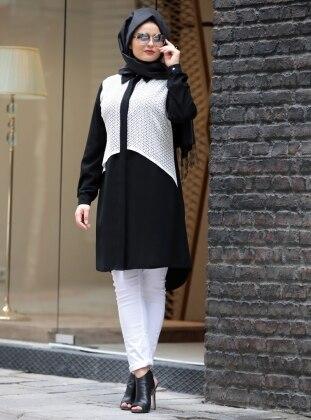 Saliha Lace Tunik - Siyah Beyaz