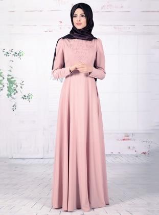 Mahperi İncili Elbise - Pudra