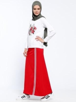 Nakışlı Bluz&Etek İkili Takım - Kırmızı
