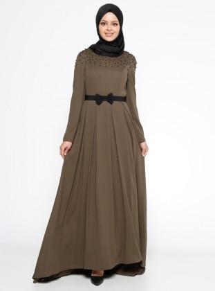 Khaki - Crew neck - Fully Lined - Dress
