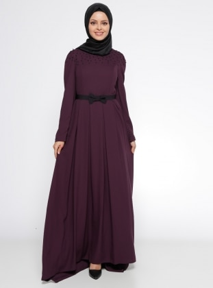 Purple - Crew neck - Fully Lined - Dress