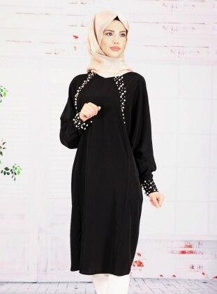 Nurkombin Sevgül İnci Detaylı Tunik - Siyah