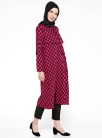 Black - Pink - Checkered - Unlined - Crew neck - Topcoat
