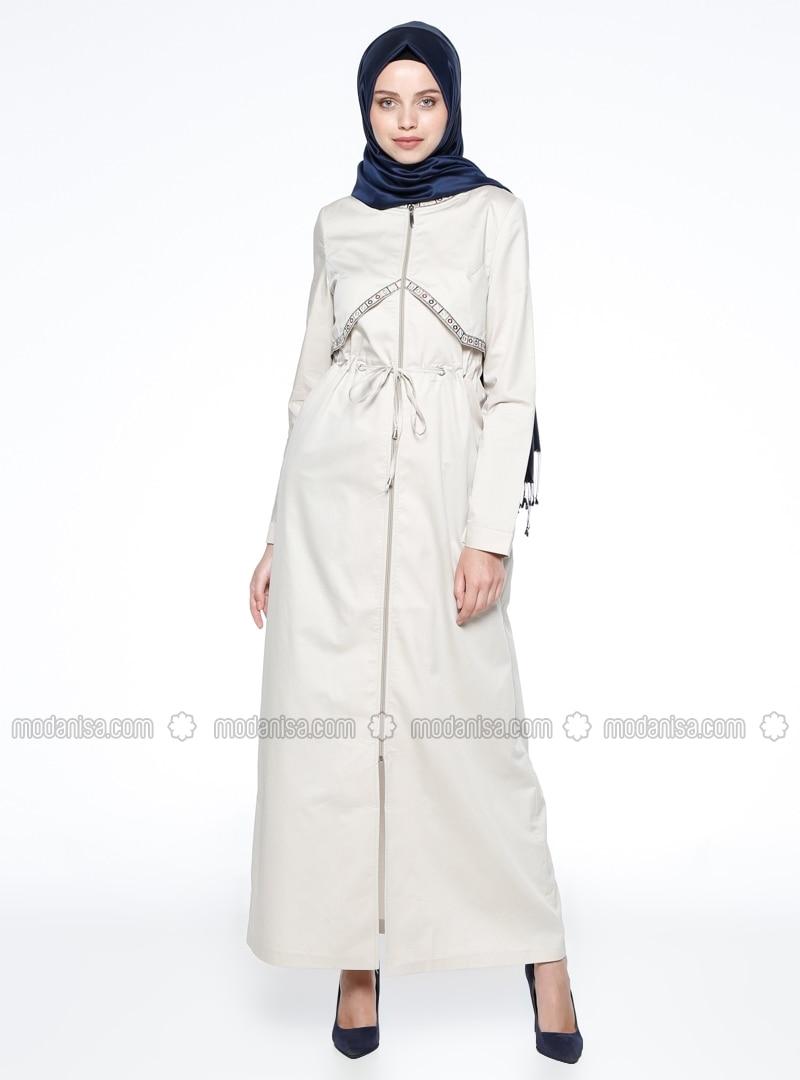 Crew neck - Unlined - Beige - Cotton - Topcoat