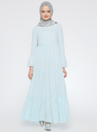 Büzgülü Elbise - Bebe Mavisi Mileny