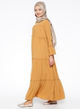 Büzgülü Elbise - Hardal Mileny