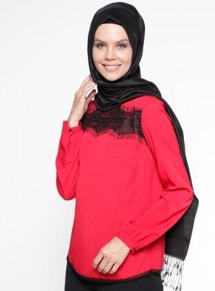 Dantel Detaylı Bluz - Kırmızı Mileny