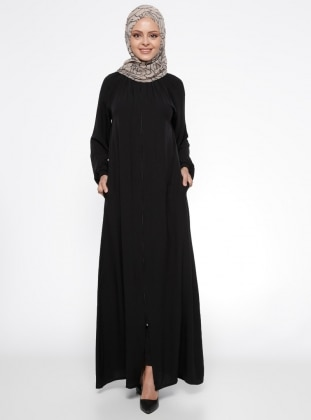 Black - Unlined - Polo neck - Abaya - ModaNaz 308133