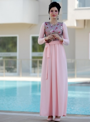 Nakış İşlemli Elbise - Pudra