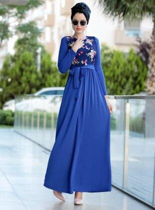 Nakış İşlemli Elbise - Saks