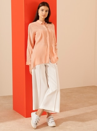 Salmon - Point Collar - Blouses