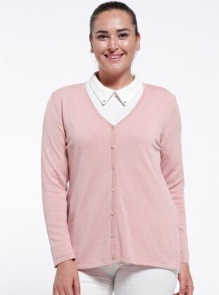 V neck Collar - Powder - Plus Size Cardigan